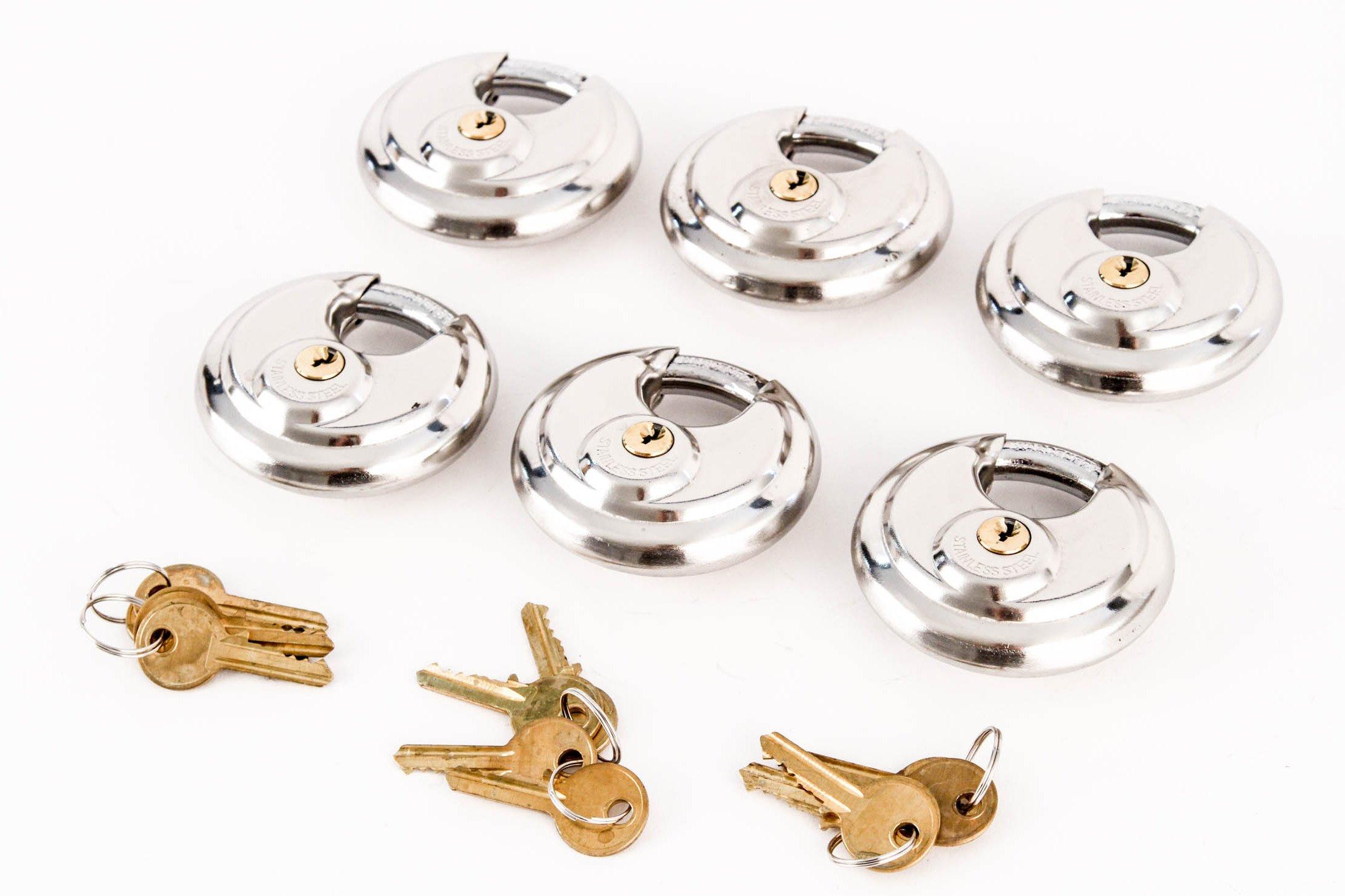Red Hound Auto 6 Armor Disc Padlock Trailer Brass Cylinder Storage Locks Stainless Keyed Same by Red Hound Auto (Image #3)