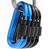 Carabiner Clip 5 Aluminum D-Ring Carabiners Screw Locking Keychain Strong Light