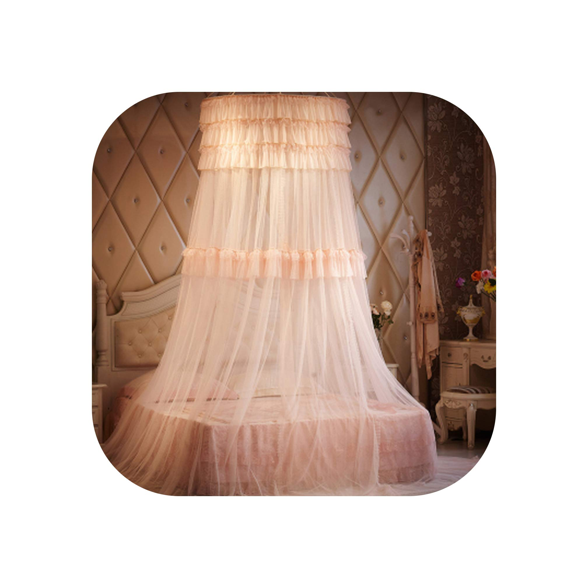 Lace Dome Mosquito Nets for Summer Round Insect Reject Net Bed Canopy Romantic CurtaMosquito Repellent Bed Tent,Jade Color,1.0m (3.3 feet) Bed