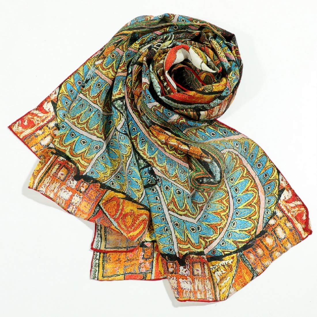 62 L*15.7 W 100/% Silk Charmeuse Long Scarf Shawl Art with Hand Rolled Edge