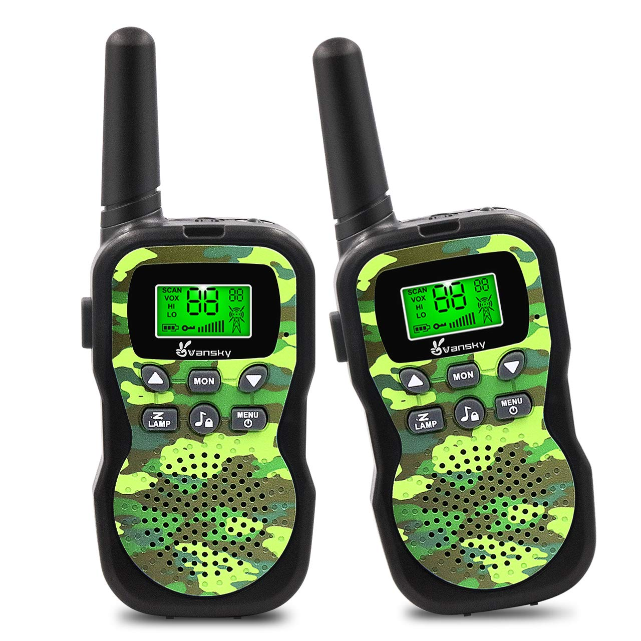 Vansky Walkie Talkies for Kids, Kids Toys 4 5 6 7 8 Age Boy Girl Long Range 22 Channel Built-in Flashlight 2 Way Radio Best Gifts Games, Outdoor Adventure, Camping, Hiking (Camo Green) by Vansky (Image #1)