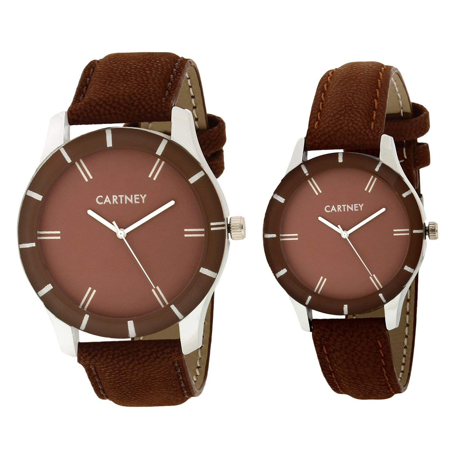 Analog Brown Dial Leather Strap Couple Watches