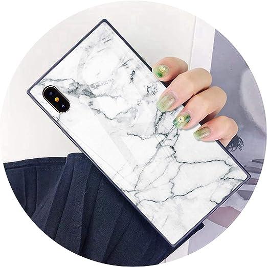 Noir de luxe en marbre Coque de protection pour iPhone 6 6S X XS Coque arrière en verre pour iPhone 7 8 Plus Coque en silicone carré résistant aux ...