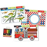 Melissa & Doug Fun Themes Placemat Set: Set the Table, Fire Engine, Dinosaurs