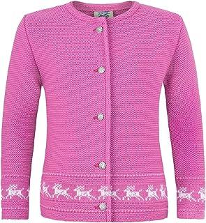 Strickjacke Jenny mit Hirschstickerei Pink - Wunderschöne Trachtenjacke für Mädchen zu Oktoberfest, Kirchweih oder Ausflug