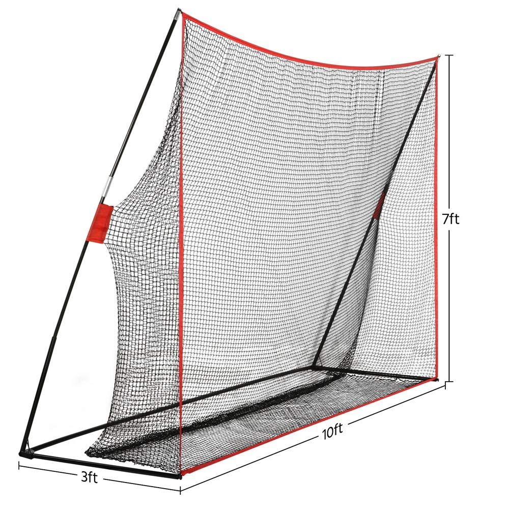 Yaheetech 10 x 7 Portable Golf Net and Metal Base Tubes, Practice Hitting Net with Carry Bag for Indoor Outdoor Use