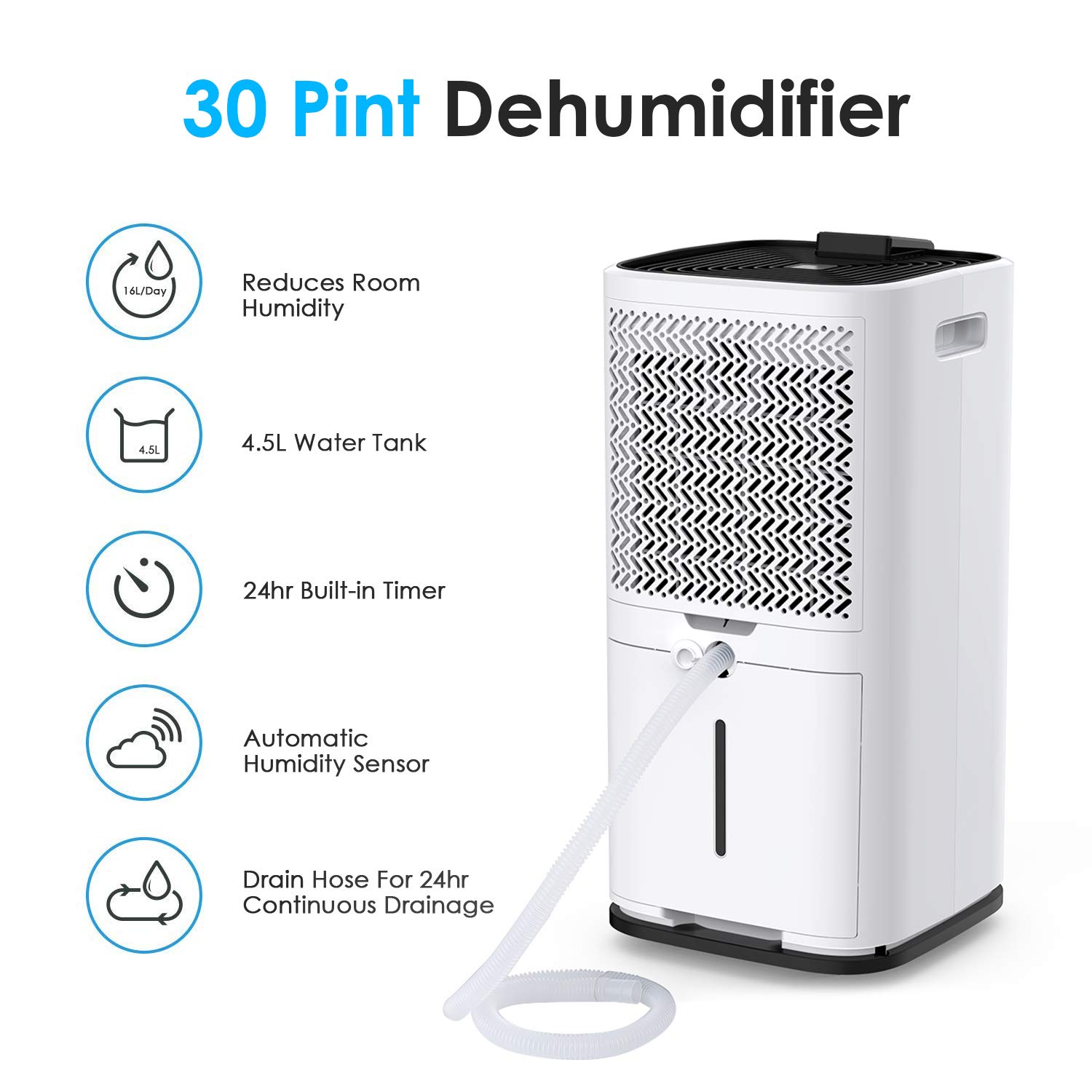 Colzer 30 Pints Portable Dehumidifier, Large Capacity, Compact Dehumidifier for Home, Bathroom, Kitchen, Bedroom, for Spaces Up to 1500 Sq Ft, Continuous Drain Hose Outlet (30 Pint) by Colzer (Image #4)