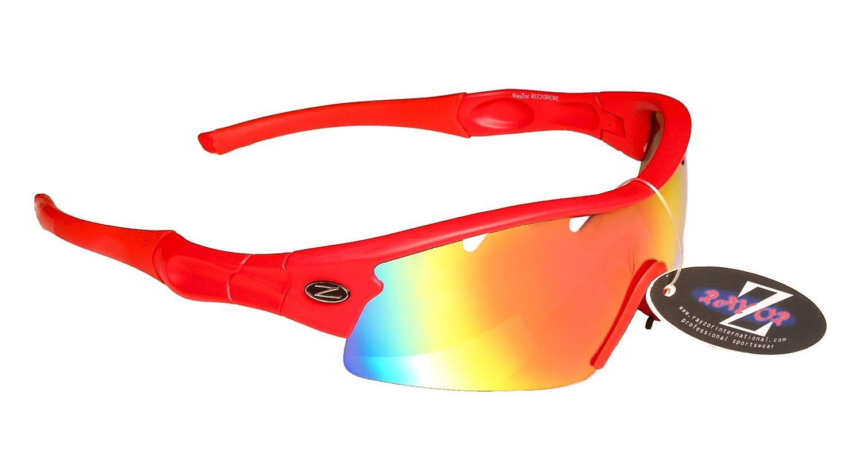 Rayzor profesionales ligeros UV400 Roja Deportes Wrap Cricket Gafas de sol, con una pieza 1 con ventilació n Roja Iridium espejo antideslumbrante lente. con una pieza 1 con ventilación Roja Iridium espejo antideslumbrante lente. RI220RERE-CR