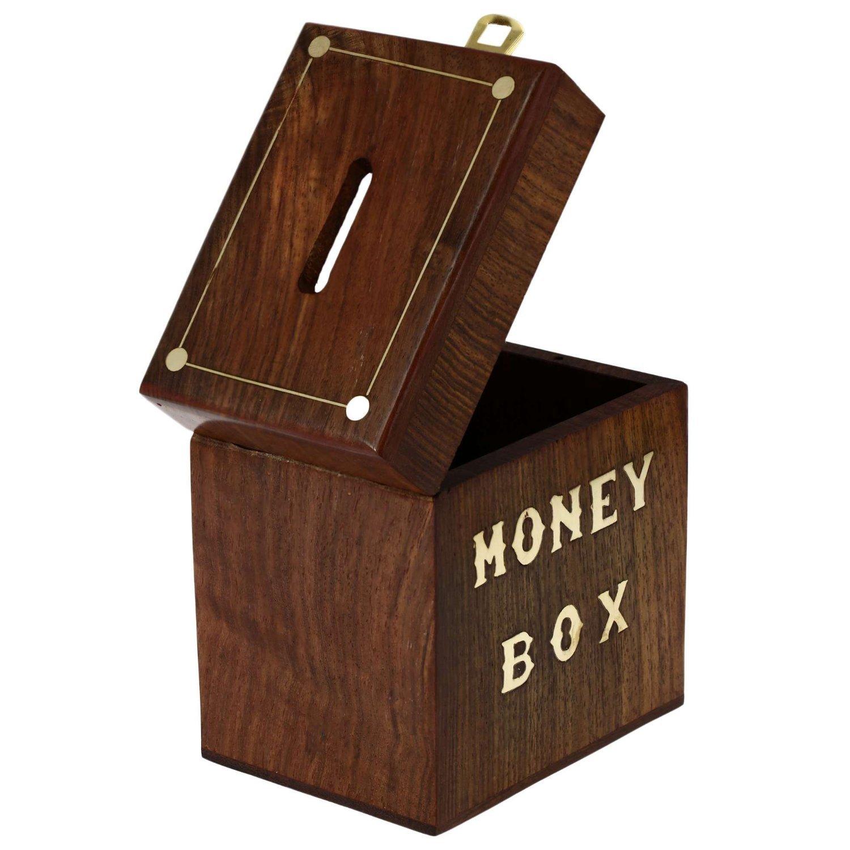 Caja de ahorros original talla de madera hecha a mano por solo 69,02€