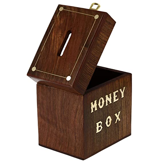 Amazon.com: SKAVIJ Ideas Handcrafted Wooden Banks Piggy Vintage Coin Trunk Safe Money Box Brass Inlay Wooden Box Handmade Vintage - 5 Inch: Toys & Games
