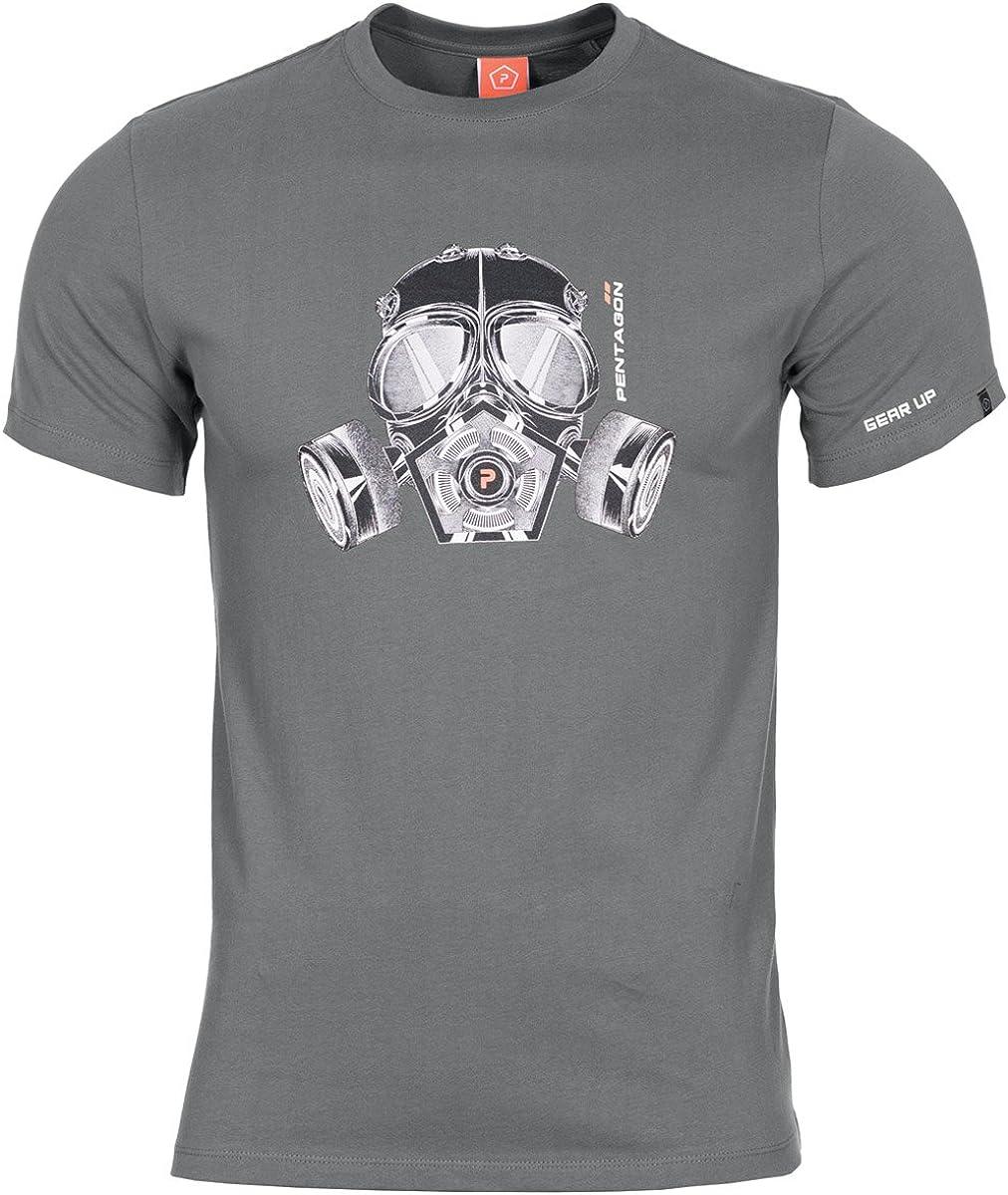 Pentagon Hombres Ageron T-Shirt Máscara de Gas Lobo Gris tamaño M ...