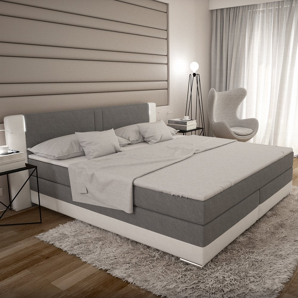 bargo boxspringbett 180x200 cm grau wei es polster bett. Black Bedroom Furniture Sets. Home Design Ideas