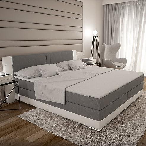 Bargo Boxspringbett 180x200 Cm   Grau Weißes Polster Bett In Stoff  Kunstleder Kombi Mit Integrierter