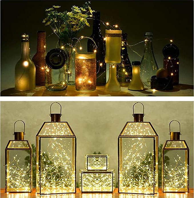 Moonli 20-LEDs 6 unidades botella luces Micro luces de hadas de la secuencia corcho DIY en forma de corcho, Partido, decoración, Navidad, Halloween, ...