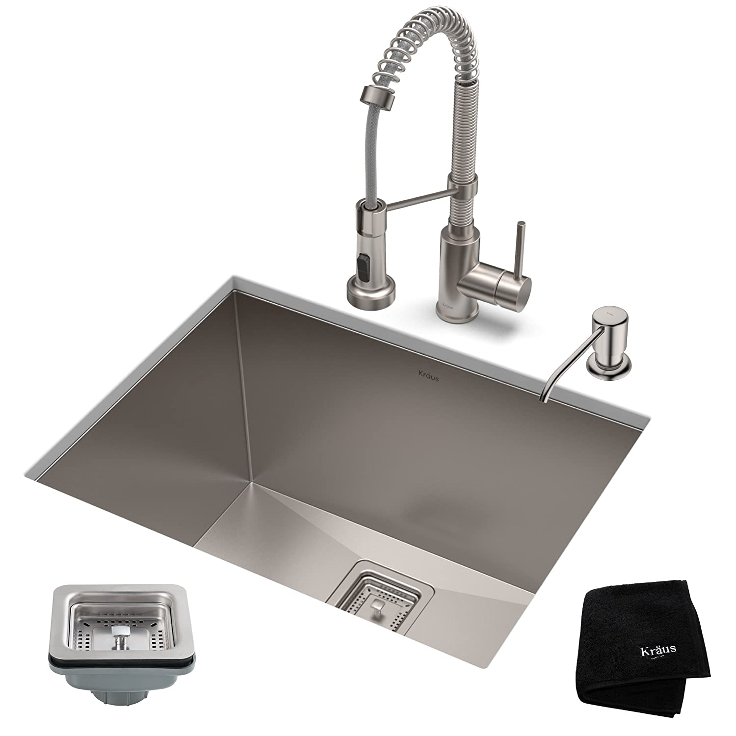 KRAUS KHU24L-1610-53SS Set with Pax Laundry Utility Bolden Commercial Pull Stainless Steel Kitchen Sink & Faucet Combo