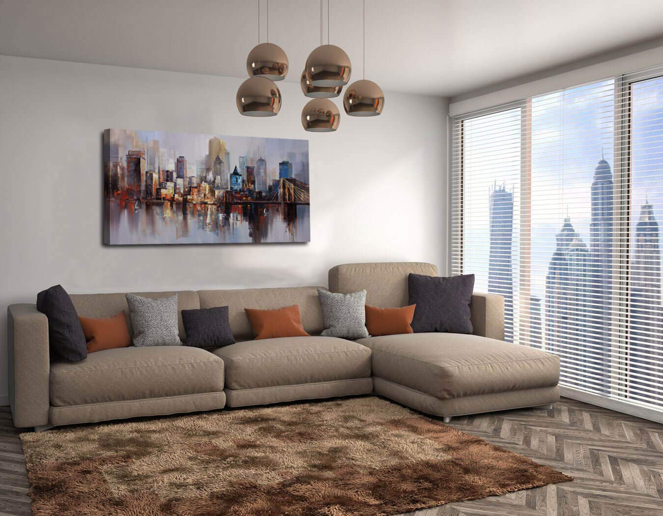 Canvas Wall Art Prints Modern Abstract Cityscape Brooklyn Bridge Painting Framed Extra Large, Colorful New York Skyline Buildings Picture for Living Room Home Office Decor 60 x30 , Original Design