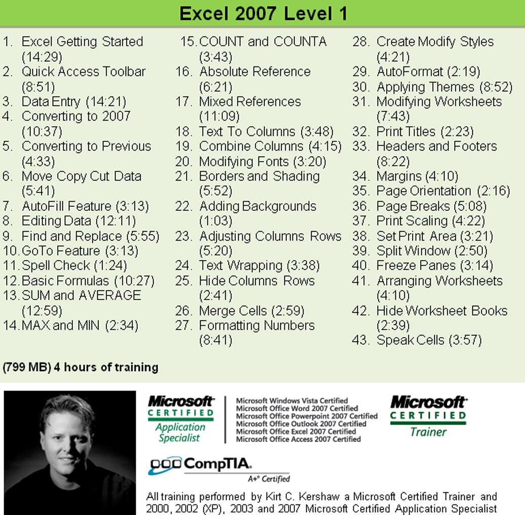 Amazon Excel 2007 Training Videos 10 Hours Of Excel 2007