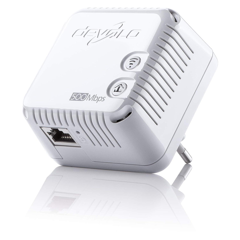 Devolo dLAN 500 WiFi - Adaptador de comunicació n por lí nea elé ctrica PLC (500 Mbps, 1 adaptador, 1 puerto LAN, repetidor WiFi, amplificador de señ al WiFi, WiFi Move), blanco amplificador de señal WiFi 9080 Conexión Enchufe W