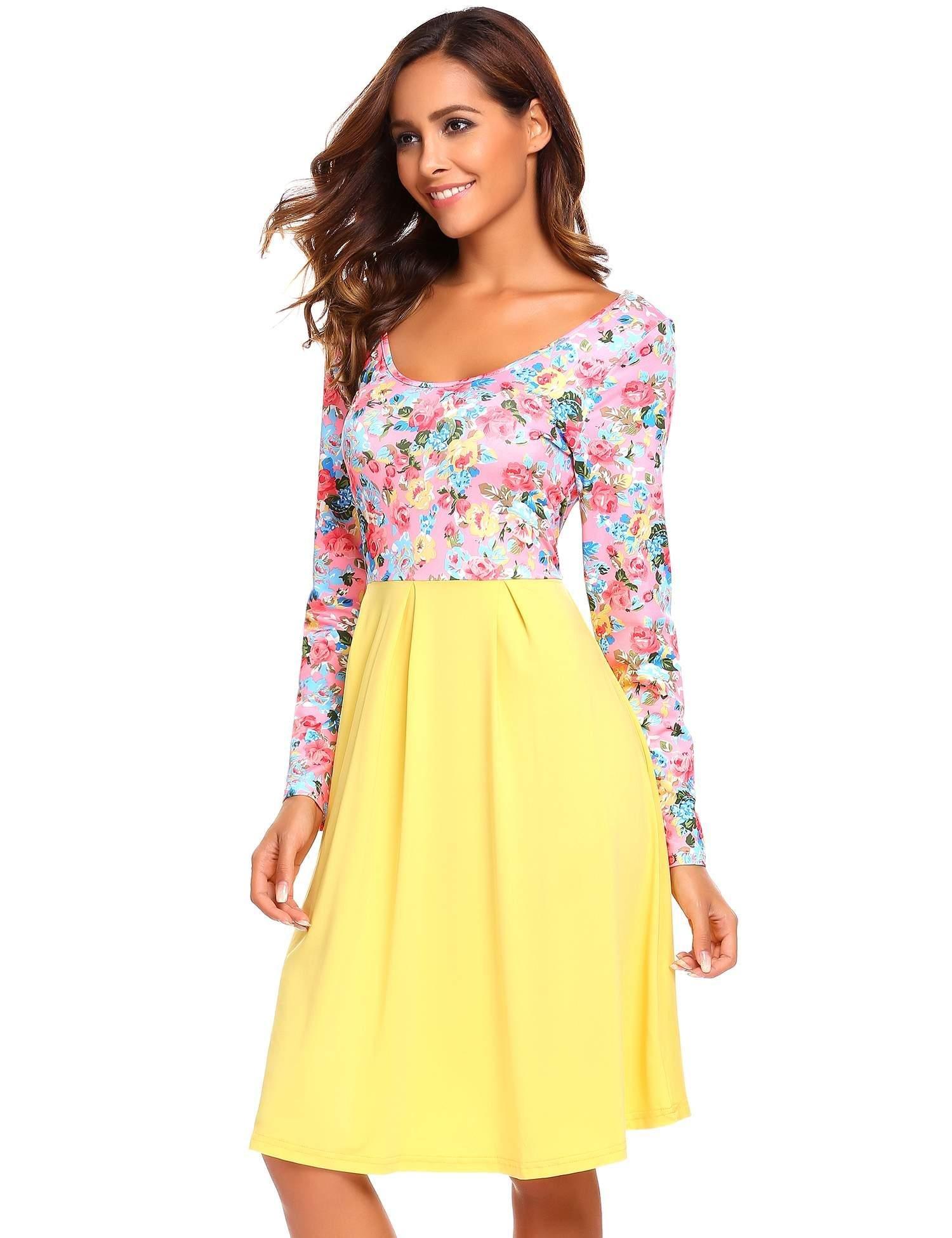 633c079cfe37 Elesol Women's Boho Floral Long Sleeve High Waist A Line Dress Yellow S