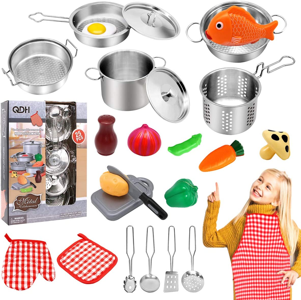 QDH Kids Kitchen Pretend Play Toys Stainless Steel Cookware Pots and Pans Set Play Food Set Accessories Cooking Utensils Set Apron Cutting Vegetables Play Kitchen Toys for Girls Boys Toddlers