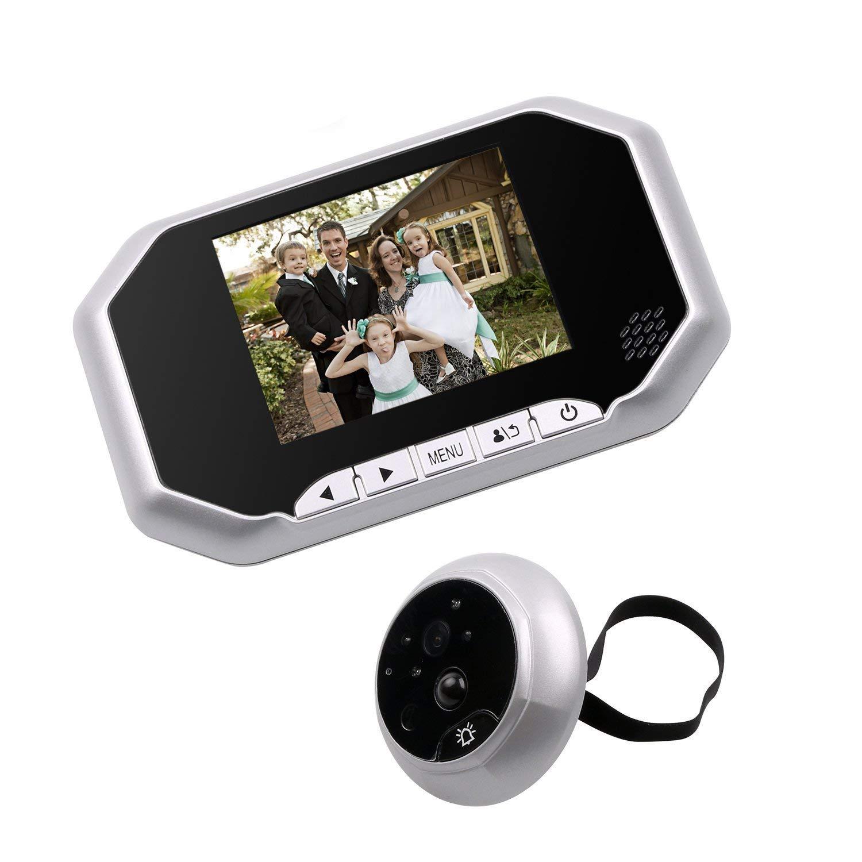 Peephole Door Viewer, Kebidu Digital Door Peephole Camera Motion Detection IR Night Vision 3.5 Inch LCD Screen Digital Video Camera 160 Degrees Wide Angle,Silver
