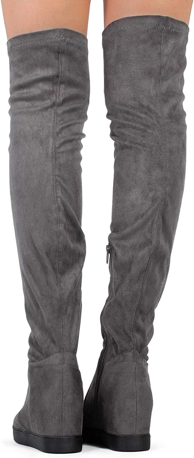RF ROOM OF FASHION Women Fashion Comfy Vegan Suede Side Zipper Over The Knee Boots