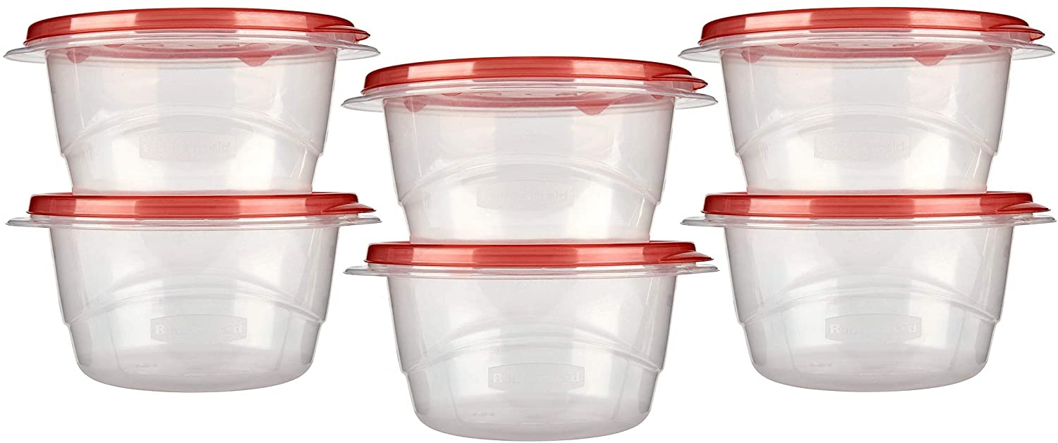Rubbermaid TakeAlongs Small Bowl Food Storage Containers, 3.2 Cup, 2 Count (Pack of 3) Total 6 Containers