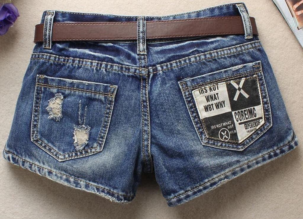 Jotebriyo Womens Loose Low Rise Split Summer Ripped Holes Plus Size Shorts Denim Shorts Jeans