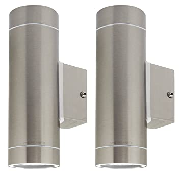 2 x stainless steel double outdoor wall light ip65 updown outdoor 2 x stainless steel double outdoor wall light ip65 updown outdoor wall light zlc02 aloadofball Image collections
