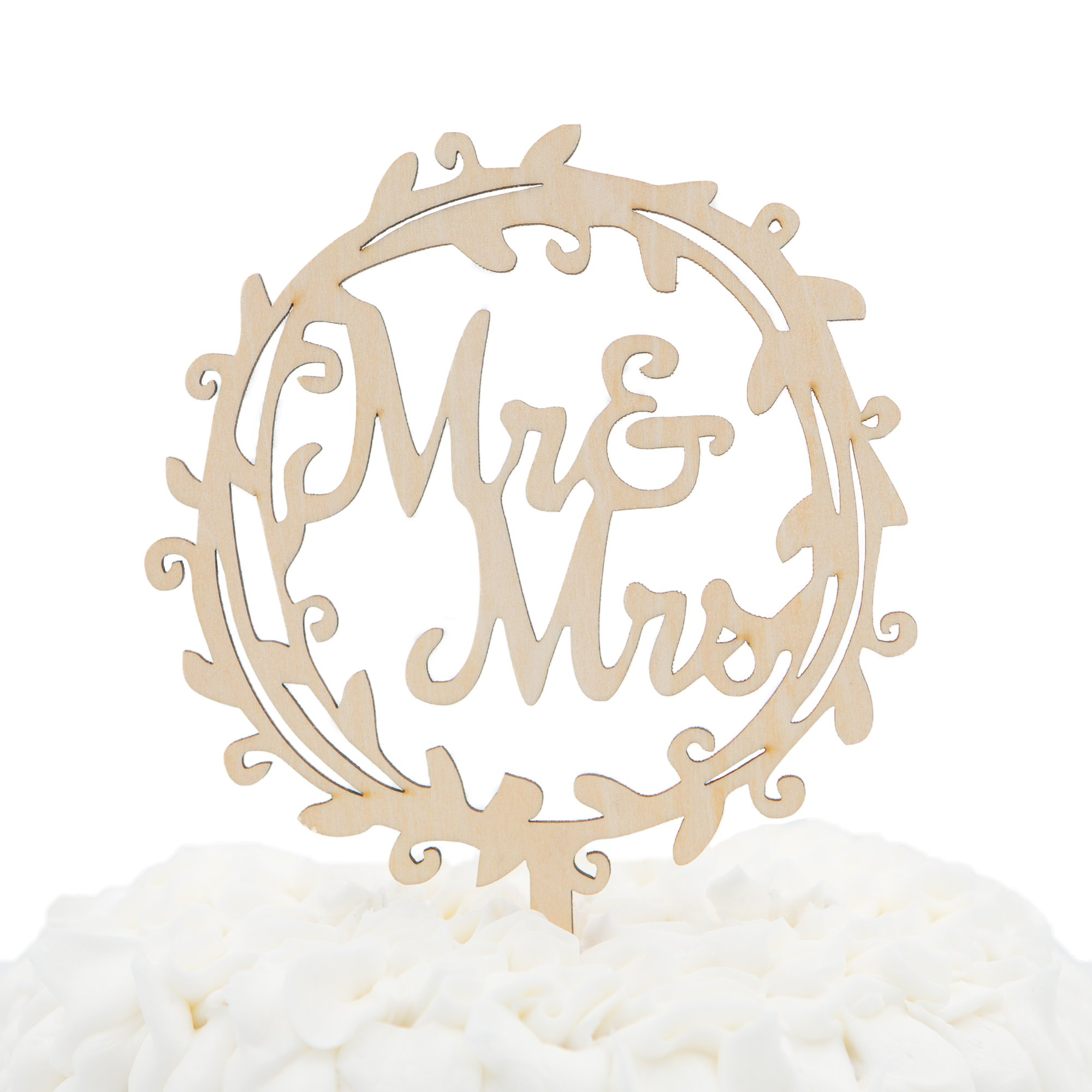 Ella Celebration Mr & Mrs Wooden Wedding Cake Topper Small 4.5 Inches Rustic Wood Floral Wreath Flowers, Olive Branch (Mr & Mrs Wreath) by Ella Celebration (Image #1)