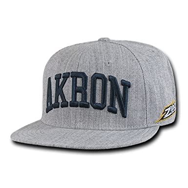 University of Akron UA Zips UAKRON NCAA Heather Gray Fitted Flat Bill  Baseball Cap Hat ( c5af846bf95