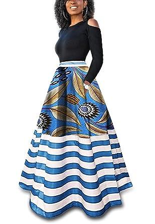 7c557d65c7aeb0 Ermonn Women's Dashiki African Print Skirts Boho High Waist Color Striped  A-Line Maxi Skirt