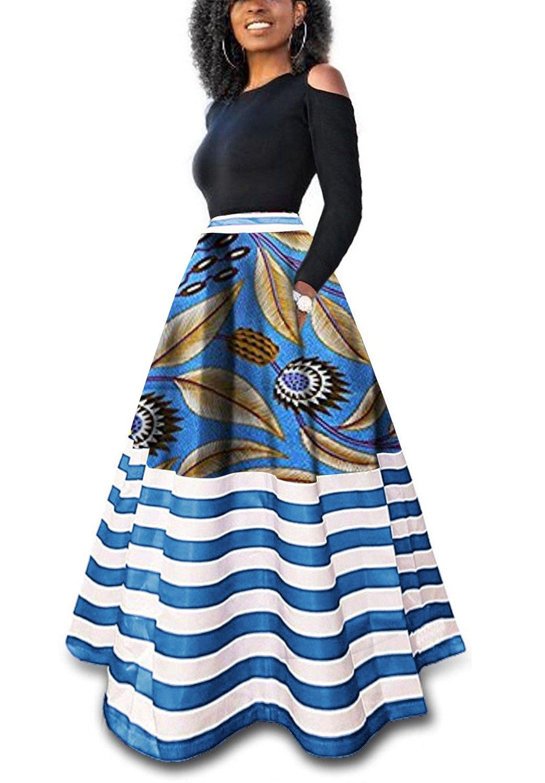 Inorin Womens African Print Skirts Dashiki Striped Long Maxi Skirt with Pockets