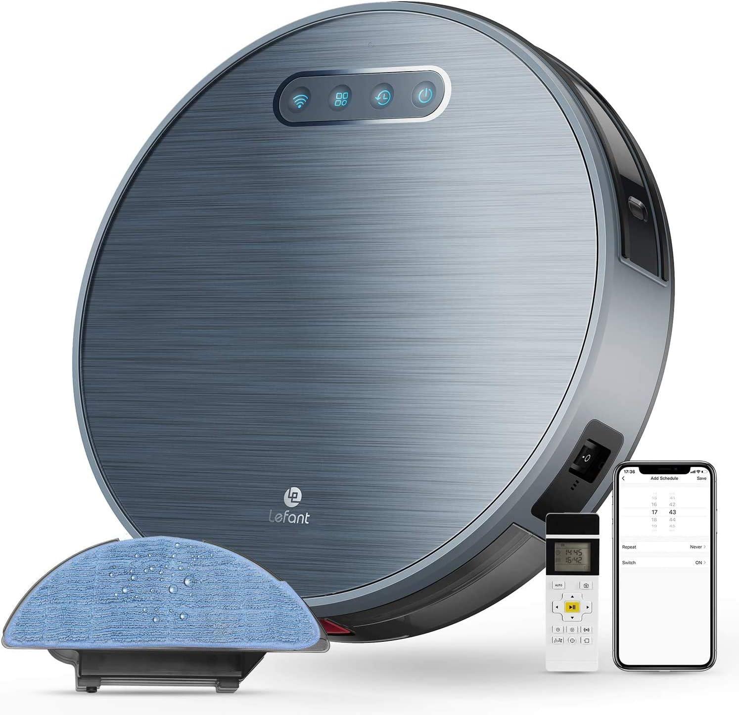 LEFANT Robot Aspirador y Fregasuelos y 3 Horas de autonomía 4500MAH WiFi con 2200 Pa,aplicación doméstica Alexa/Google/Control Remoto Ideal Podrías Cambiar lo de alfombras Cortas de Animales M571: Amazon.es: Hogar