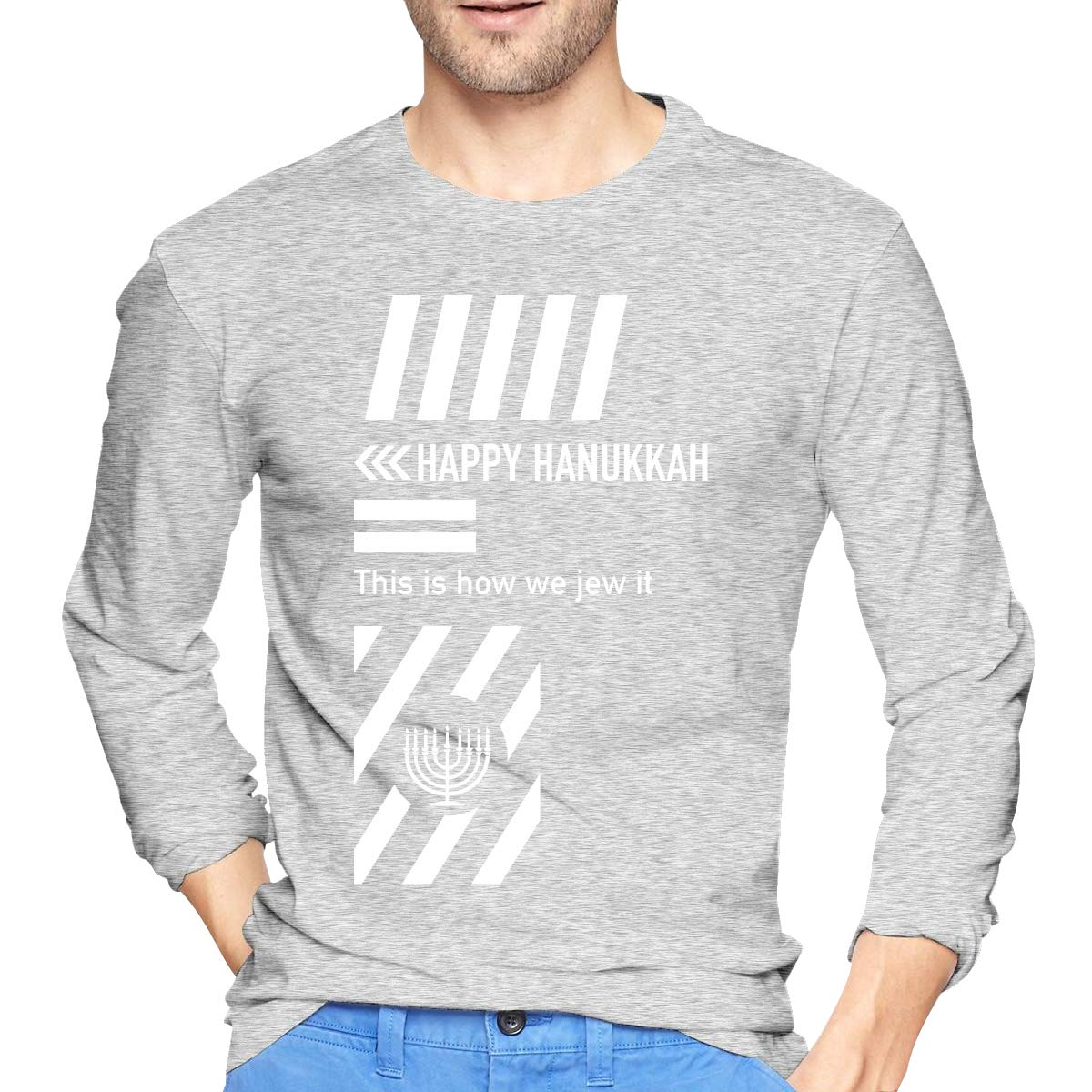 This is How We Jew It Happy Hanukkah Jewish Boys Ultra Cotton Fit Long Sleeve Tee Casual Tops Tee