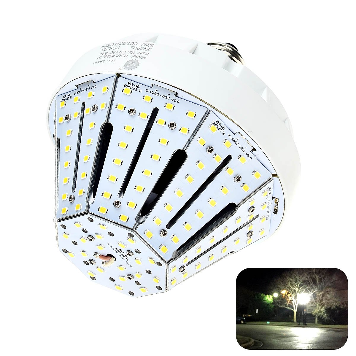 Phenas 30W LED Corn Light Bulbs E26 Base 5500 Lumens 6000K for Street Area Light, Parking Lot, Post Lighting, Gymnasium,Warehouse, Subway, Porch, Backyard, Garden Super Bright