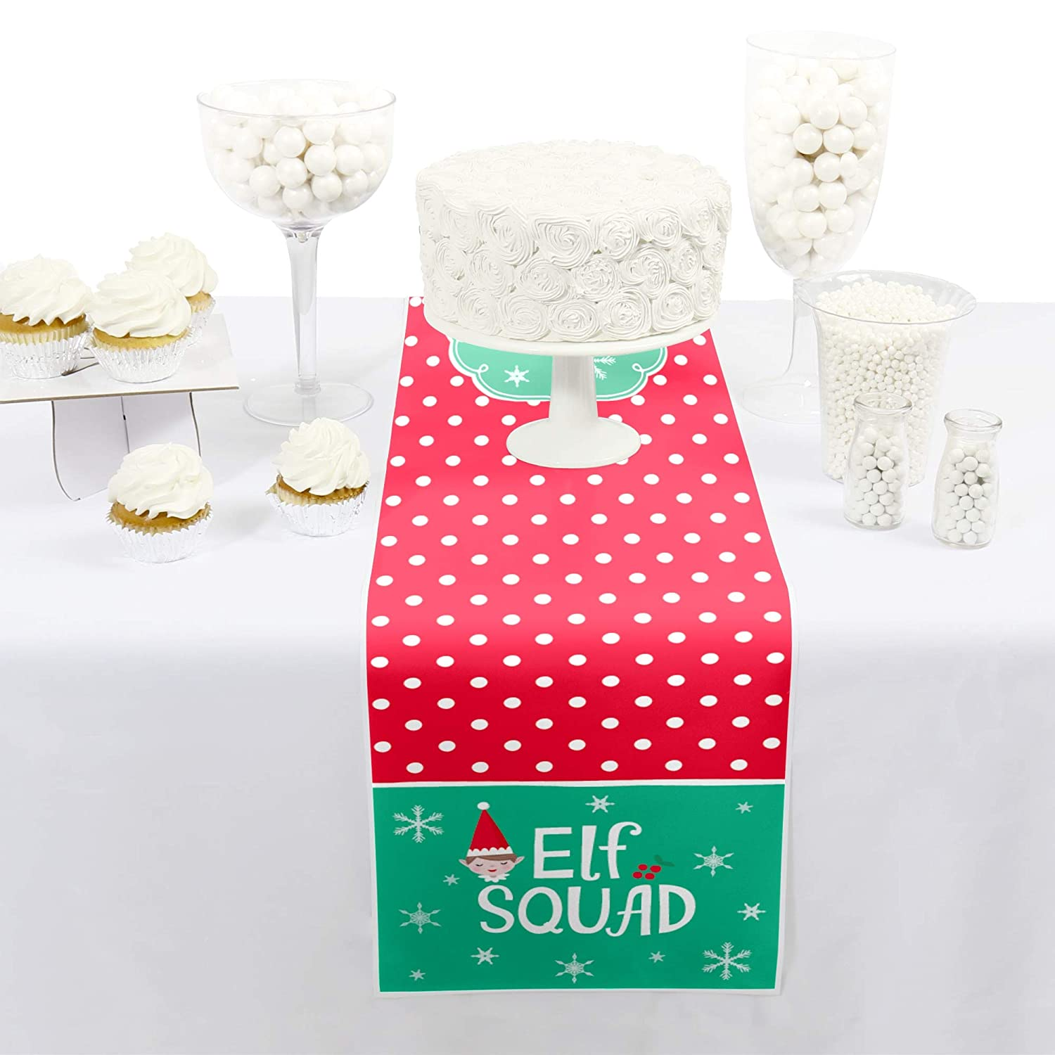 Petite Kids Elf Christmas and Birthday Party Paper Table Runner Big Dot of Happiness Elf Squad 12 x 60