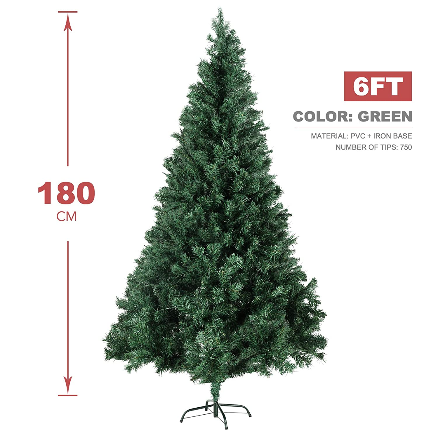 a008edefaeb Amazon.com  LAGRIMA Unlit Christmas Tree 6FT Artificial Xmas Pine Tree with Solid  Metal Stand Perfect Indoor Outdoor  Home   Kitchen