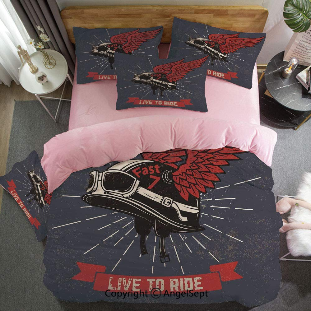 Custom Bedding Set King Size Duvet Cover Set 4 Pcs Live To Ride Quote And Helmet With Wings Motorcycle Lover Grunge 1 Duvet Cover,1 Flat Sheet Matching 2 Pillowcase for Couple Charcoal Grey Red