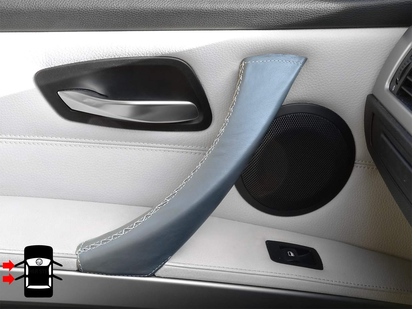 Right, Black Leather Passenger Door Handle Cover 3 Series E90 E91 E92 E93