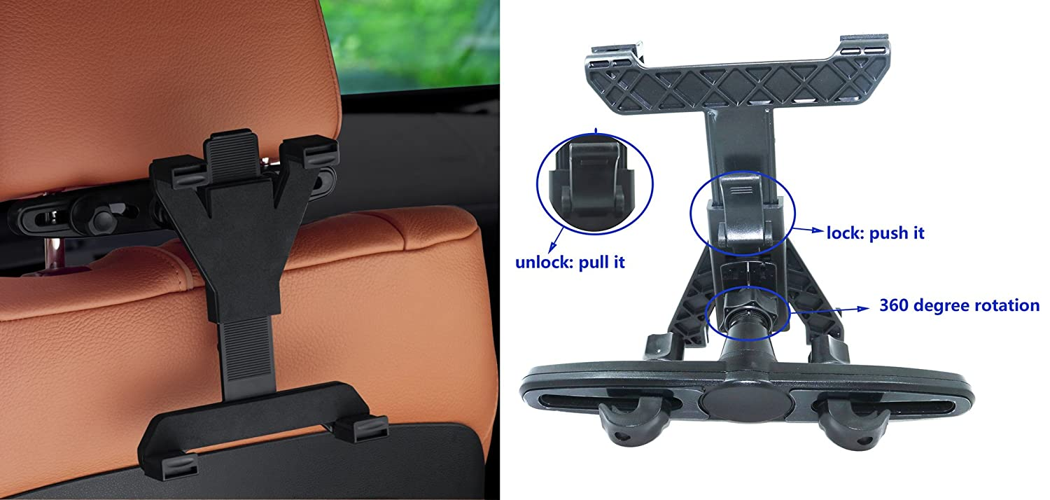 ITTA 360 Degree Adjustable Rotating Car Headrest Holder for iPad Samsung Galaxy,Motorola and All Other 7 to 10 Tablets Black Tablet Car Seat Mount