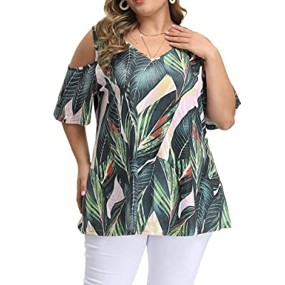 Allegrace Women's Plus Size Floral Printing Cold Shoulder Tunic Top Short Sleeve V Neck T Shirt at Women's Clothing store