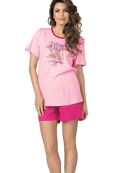 Pijamas para mujeres manga pantalon corto color rosa tallas: 38-52 de comtessa size 44: Amazon.es: Ropa y accesorios