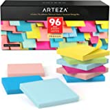 Arteza 3x3 Inches Sticky Notes, 96 Pads, 100 Sheets Per Pad, Bulk Pack, Assorted Colors, Re-Adhesive, Clean Removal, Office S