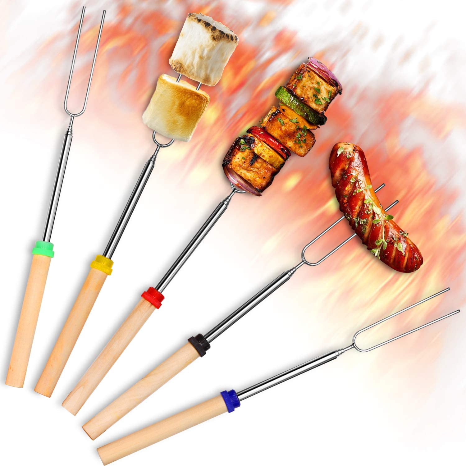 Betus Barbecue Forks for Outside Grill, Roasting Stick with 32 Inch Extra Extendable Metal and Wooden Handle - Telescoping BBQ Grill Kid Skewer Campfire Fork Tool for Fire Pit - Set of 5 Pcs : Garden & Outdoor
