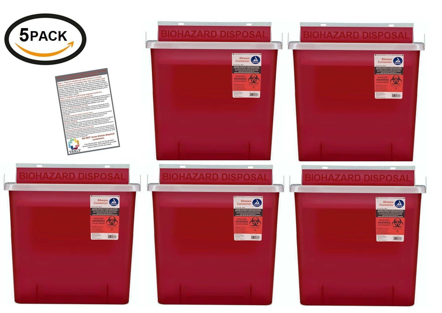 BULK Sharps Container 5 Quart with Mailbox Style Lid - Plus Vakly Biohazard Disposal Guide