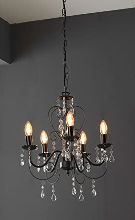 Kronleuchter Pendelleuchte Deckenlampe LÜSTER | Metall | Acryl | Schwarz |  Ohne Leuchtmittel