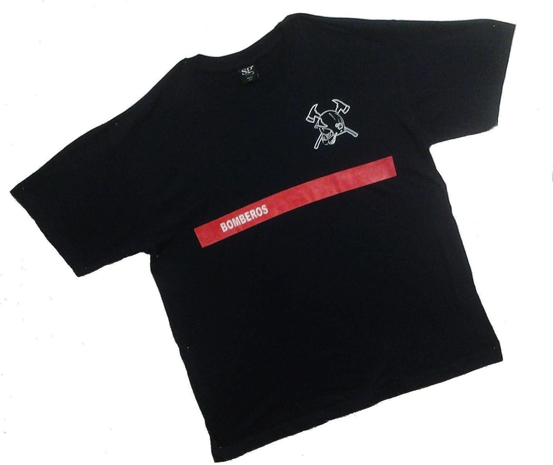 Camiseta Bomberos Franja roja Hombre y niño, Color Azul Marino (XL ...