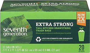 Seventh Generation, Drawstring Kitchen Trash Bags 13 gal, 20 count
