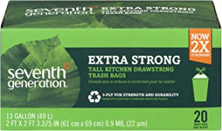 product image for Seventh Generation, Drawstring Kitchen Trash Bags 13 gal, 20 count